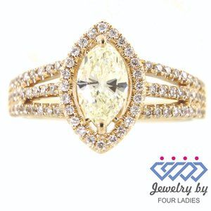 Natural Marquise Halo Diamond Ring 14K Yellow Gold